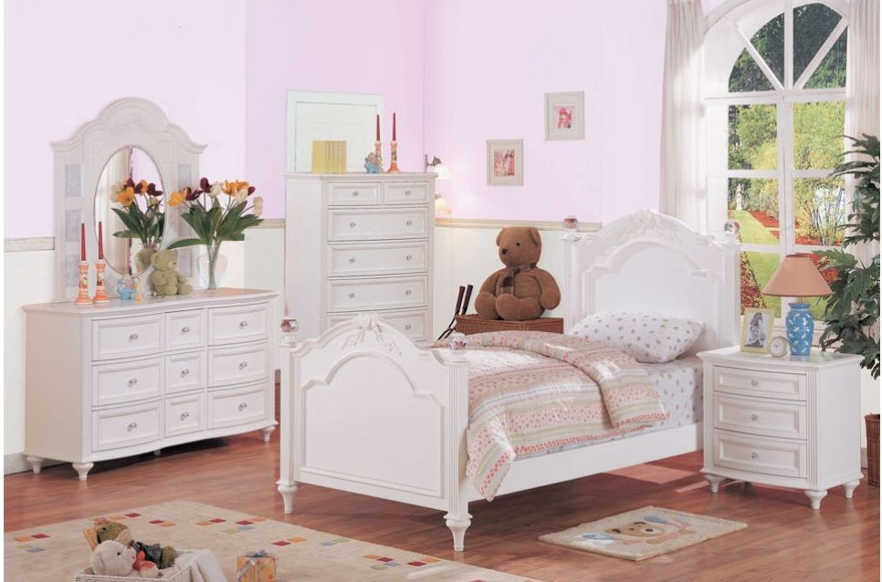 Jerome\'s Crystal girls bedroom set: Twin bed, Dresser w ...