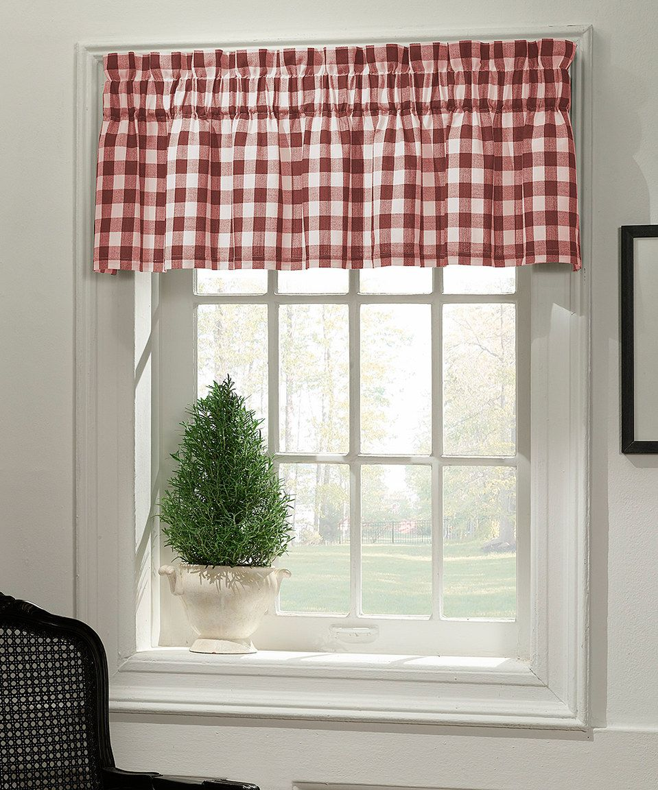 1 Red And White Buffalo Check Tie Up Shade Designer Valance Plaid Valance Modern Home Decor Nursery Decor Kitchen Curtain Home Decor Tie Up Shades Cafe Curtains