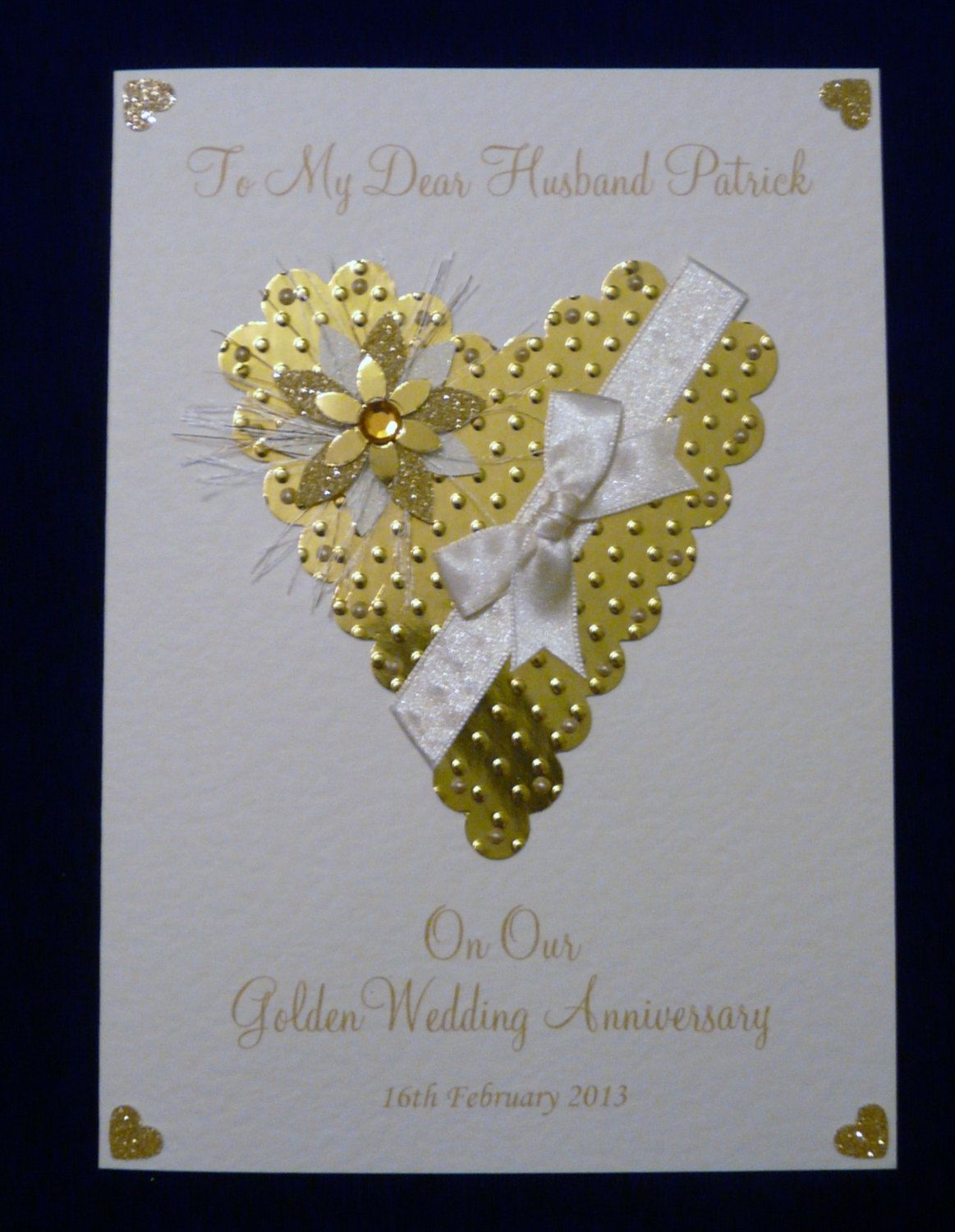 Personalised 50th Golden Wedding Anniversary Card for Wife