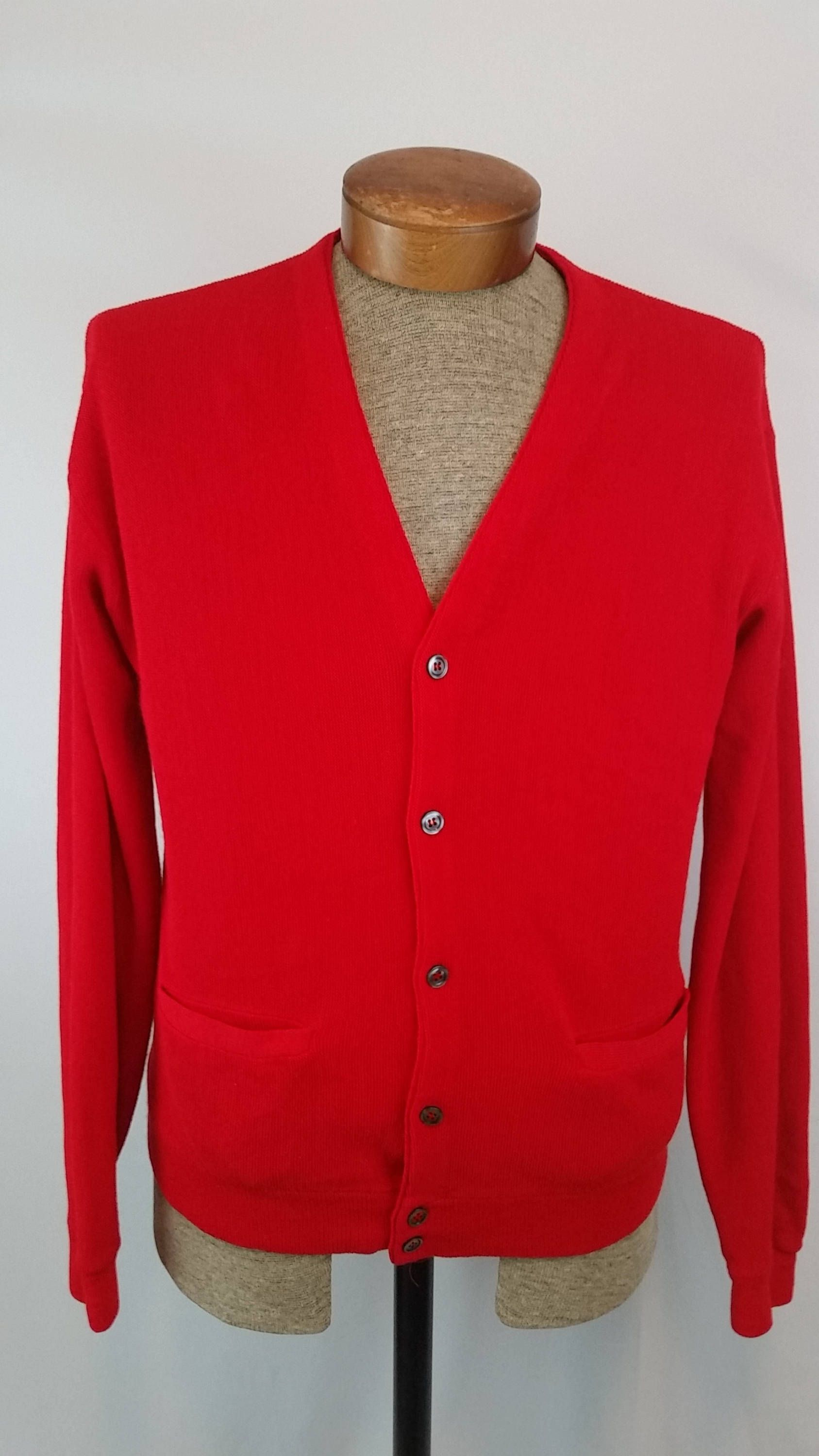 1960's ARNIE by Arnold Palmer Bright Red Button Front Cardigan ...