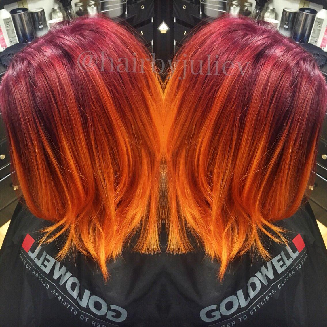 Violet To Orange Ombre Ombre Orange Goldwell Pravana Orange Ombre Hair Red Orange Hair Hair Styles