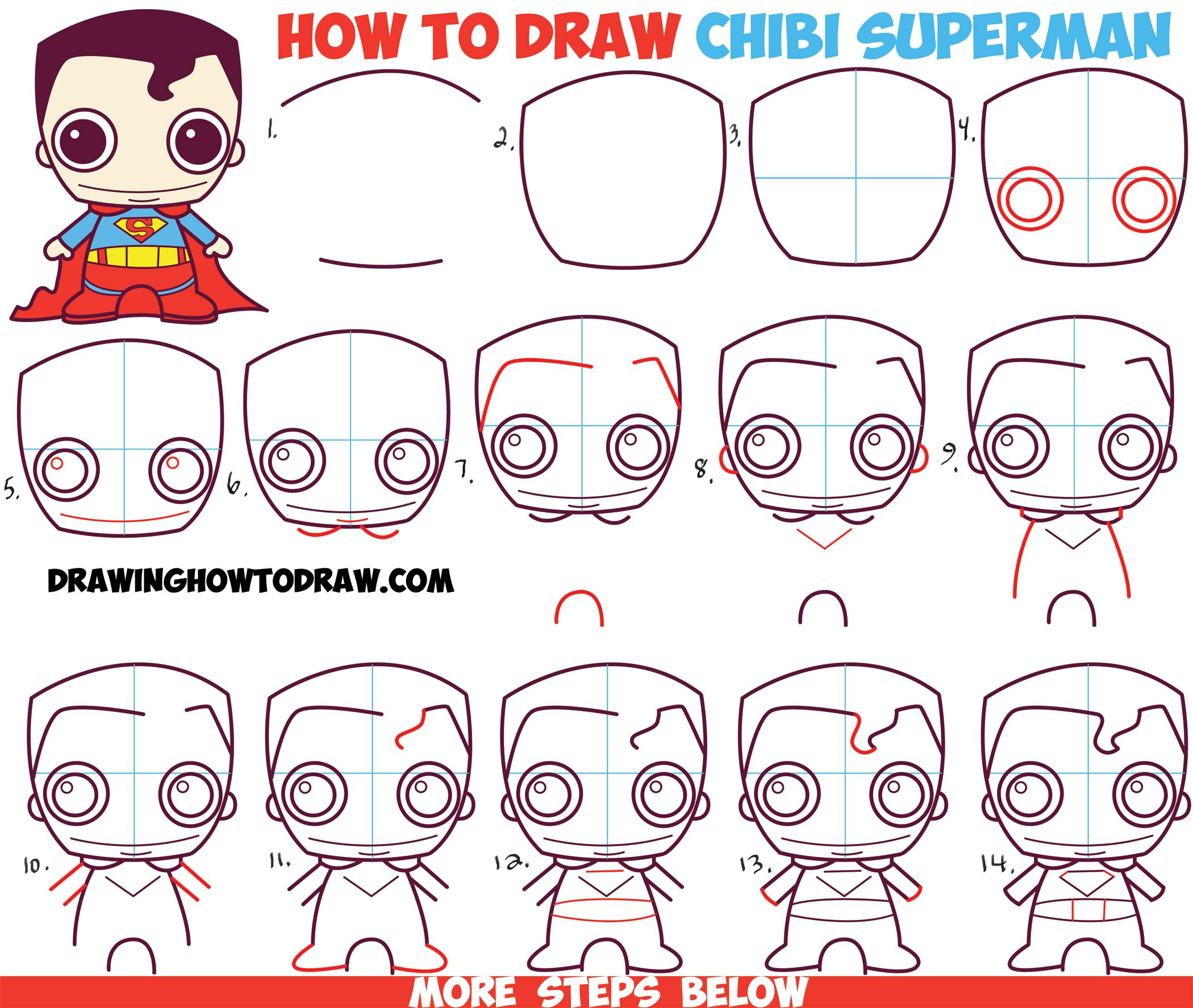 How To Draw Cute Chibi Superman From Dc Comics In Easy Step By Step Drawing Tutorial For Kids How To Draw Step By Step Drawing Tutorials Drawing Tutorials For Kids