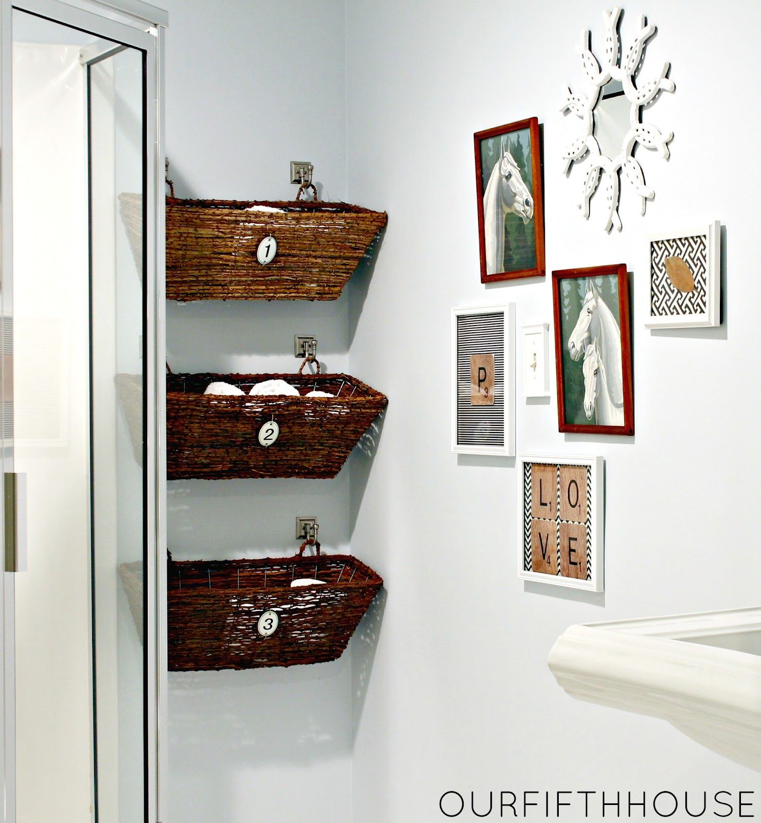 Love These Baskets Hanging From Simple Hooks Or Window Boxes Used As Bathroom Storage By Our Fifth House And Decorative For Behind A