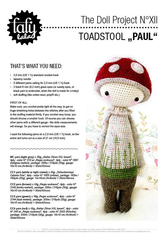 PAUL the toadstool • lalylala crochet pattern / amigurumi | Muñecas ...