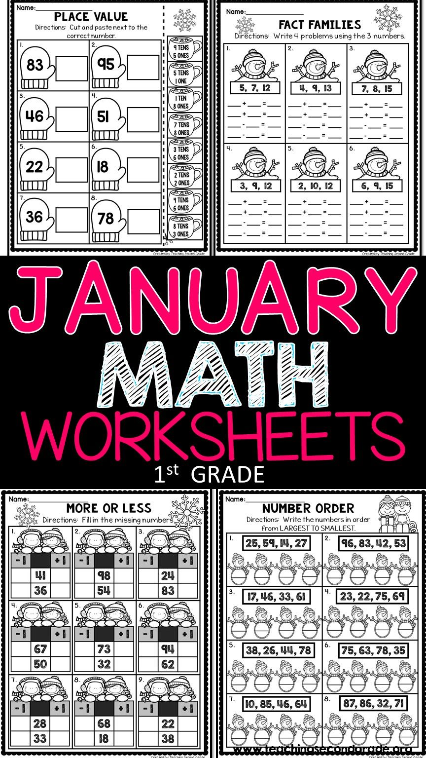 These January Math Worksheets Are A Wonderful Way To Give Your 1st Grade Students Extra Practice On The Skills Co January Math Math Worksheets First Grade Math [ 1536 x 864 Pixel ]