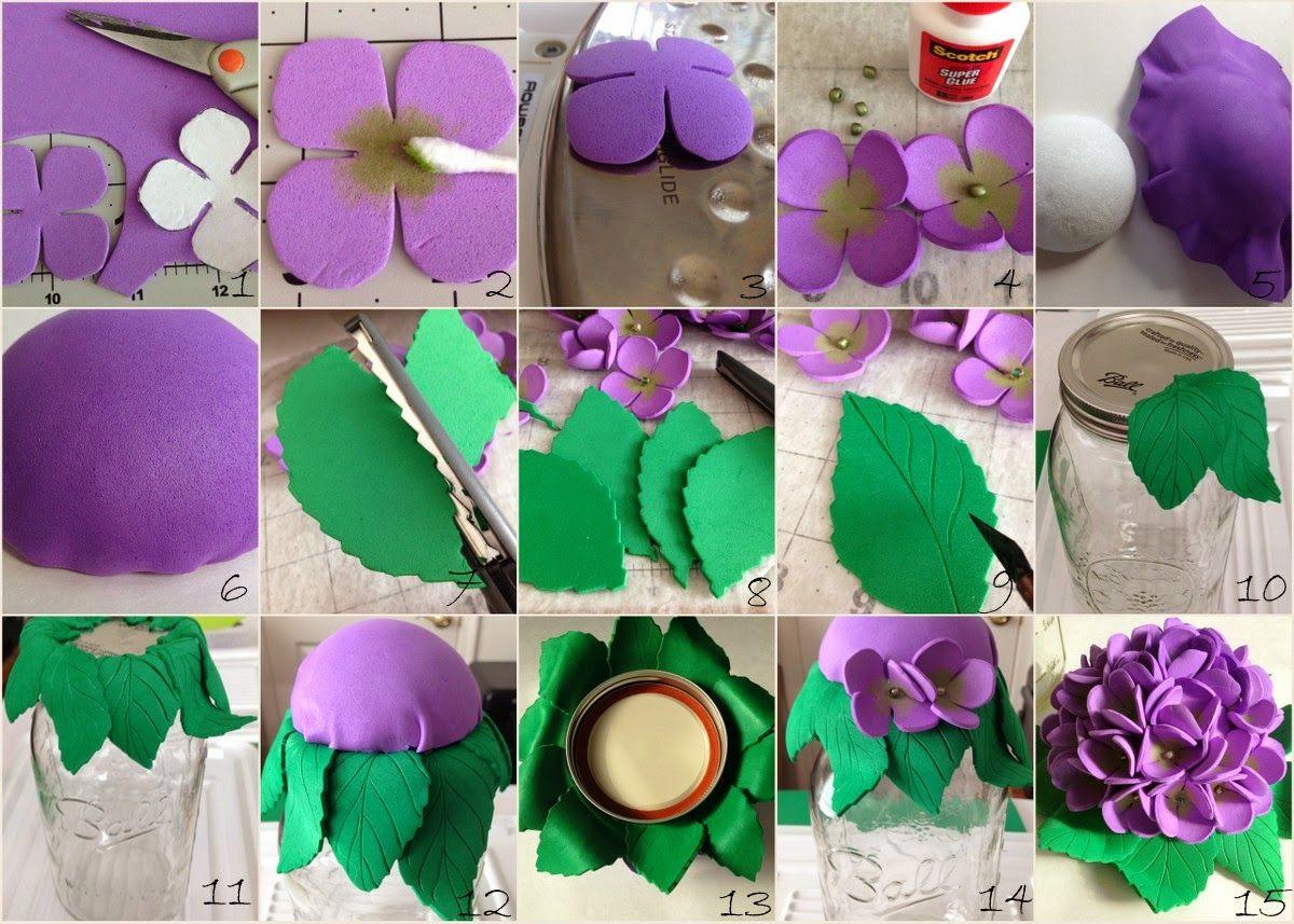Purple Hues And Me Mason Jar Foam Flowers Decorative Tops