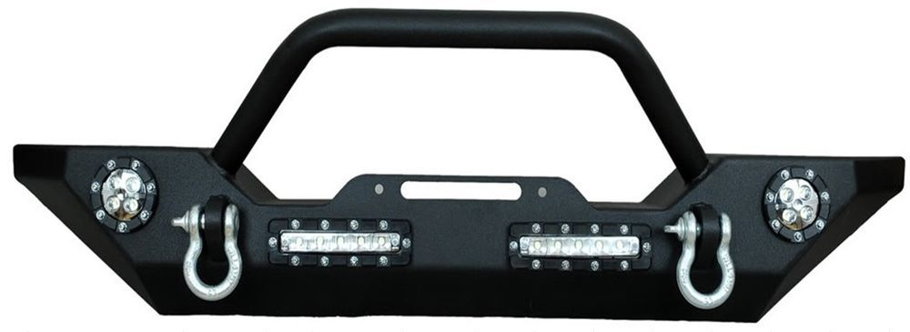 07-15 Jeep Wrangler Front Bumper w/ LED Lights, Winch Mount Plate,