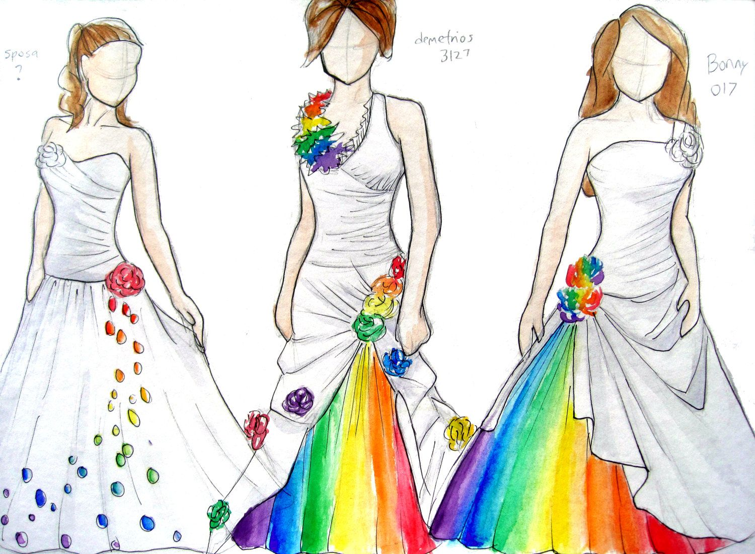 Love these Rainbow Wedding Dress Sketches 8x10 by axoloti on Etsy. $8.00, via Etsy. The perfect mix between color and still classic.