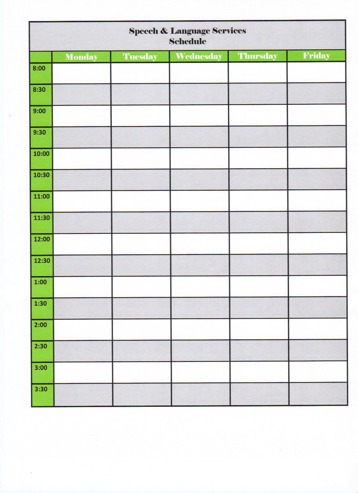 Free Template For A Daily Schedule  Weekly Class Schedule