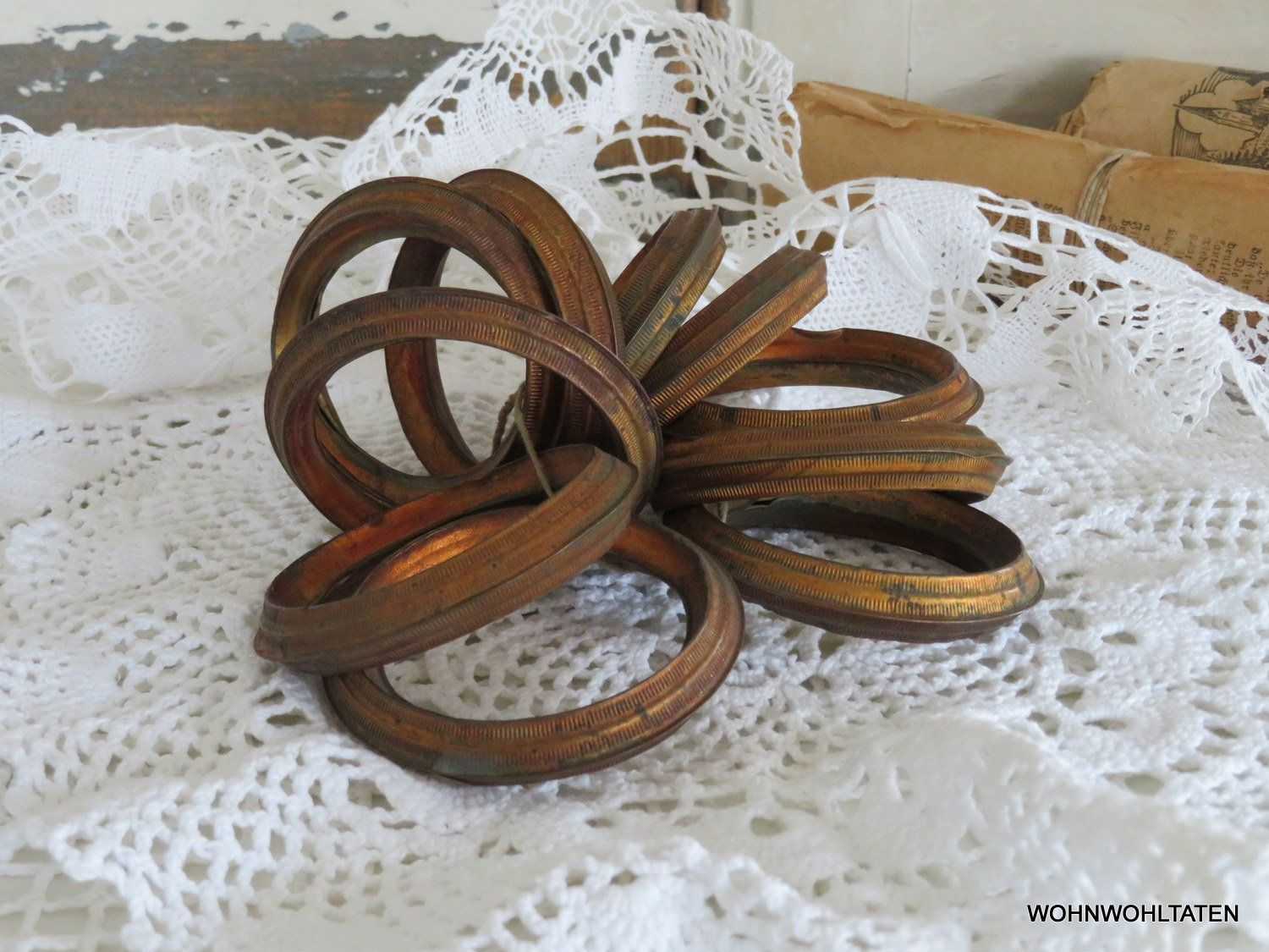 French Antique Curtain Rings 10 Pieces Large Copper Rings Vintage