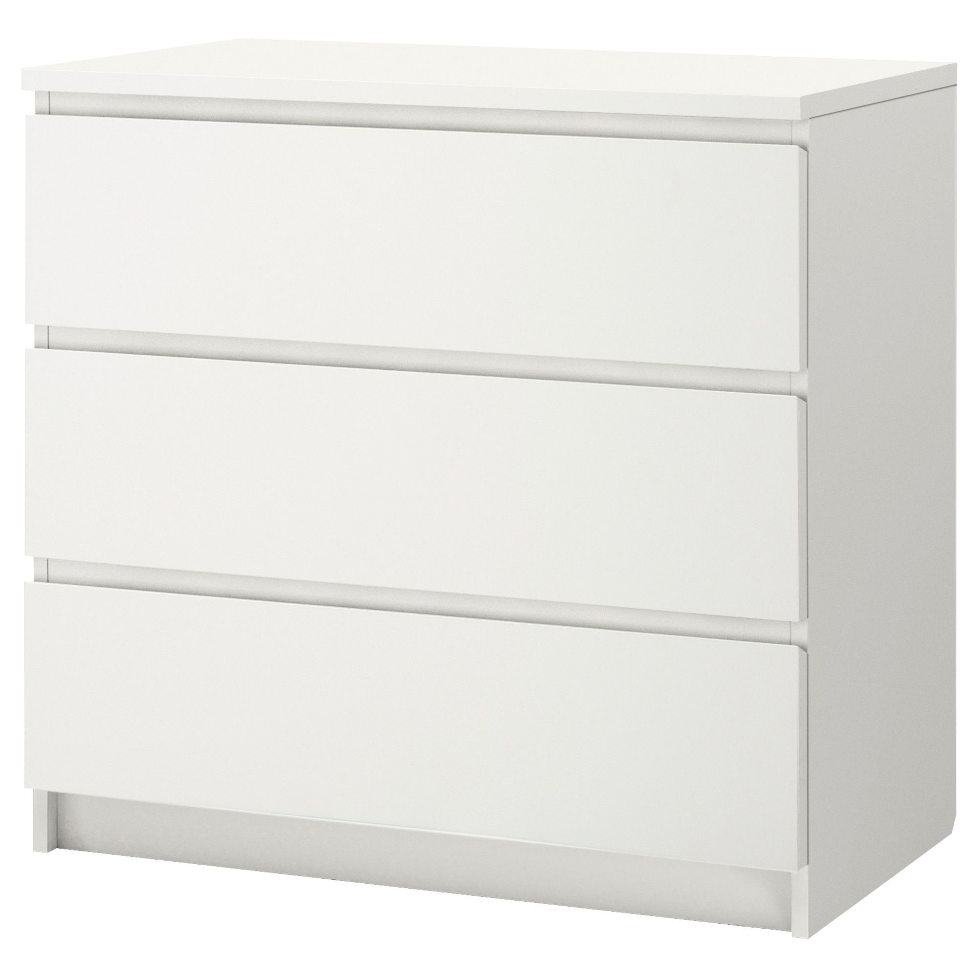 ikea malm 3 drawer chest white 31 5 8x30 3 4 smooth running drawers with pull out stop. Black Bedroom Furniture Sets. Home Design Ideas