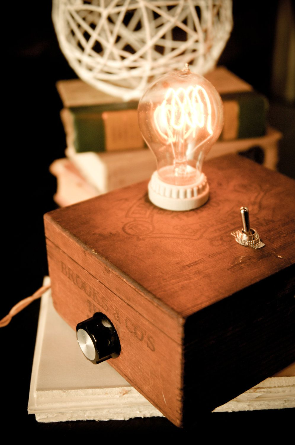 Charming Adam Satchel Cigar Box Lamp (I Made One Of These From A Cardboard Box For