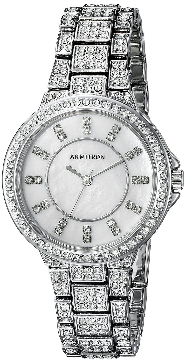 Armitron Women's 75/5317MPSV Swarovski Crystal Accented Silver-Tone Bracelet Watch >>> Continue to the watch at the image link.
