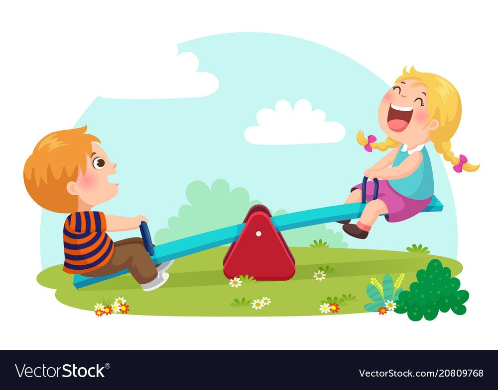 Cute Kids Having Fun On Seesaw At Playground Vector Image On Vectorstock Kids Clipart Happy Kids Kids Feelings