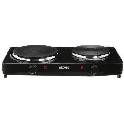 Aroma 2 Burner 7 5 In Black Diecast Hot Plate With Temperature Control Ahp 312 The Home Depot Double Burner Hot Plate Portable Stove