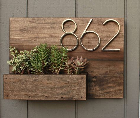 Wooden Address Planter Box Customizable Succulent Planter Address Display House Numbers  by paige Wooden Address Planter Box Customizable Succulent Planter Address Displa...
