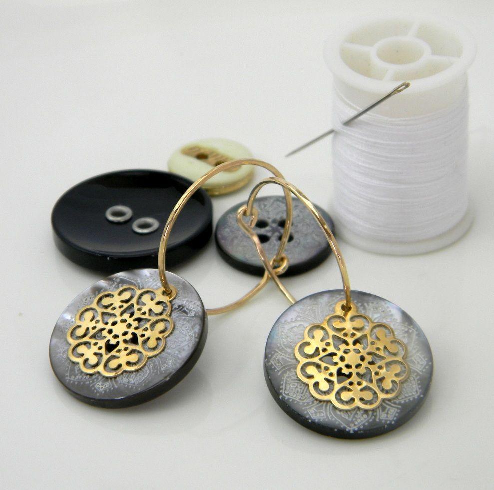 Button earrings by Mipola https://www.etsy.com/shop/mipola?ref=si_shop