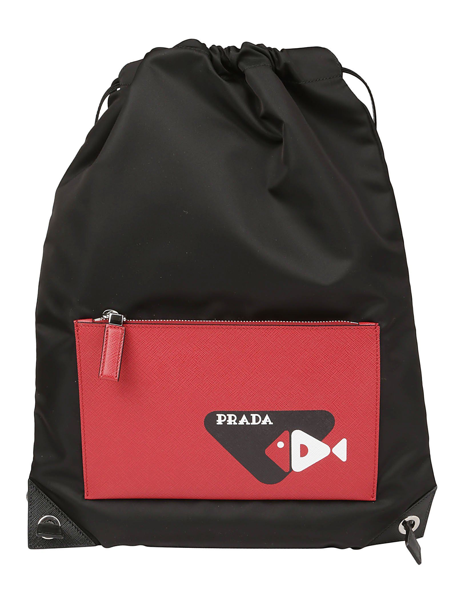 f1d3c9440f2337 PRADA PRADA DRAWSTRING FISH PRINT BACKPACK. #prada #bags #leather #nylon # backpacks