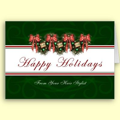 Happy holidays from hair stylist card christmas greeting cards happy holidays from your hair stylist holiday greeting card by xg designs nyc this is a beautiful card for a hair stylist to wish clientscustomers a m4hsunfo