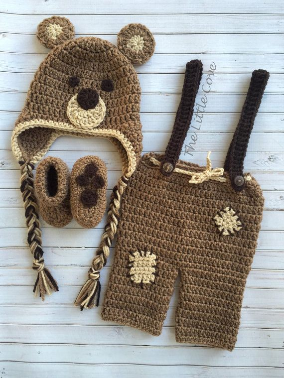 bbddfa063 Bear Photo Prop, Bear Outfit, Crochet Bear Outfit, Baby Bear Prop, Bear Hat,  Bear Pants, Bear Bootie