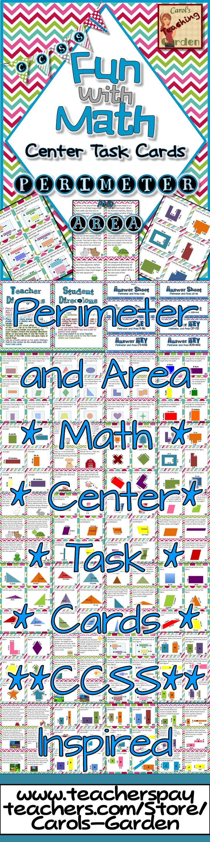Fun With Math Center Task Cards Perimeter and Area Common Core ...