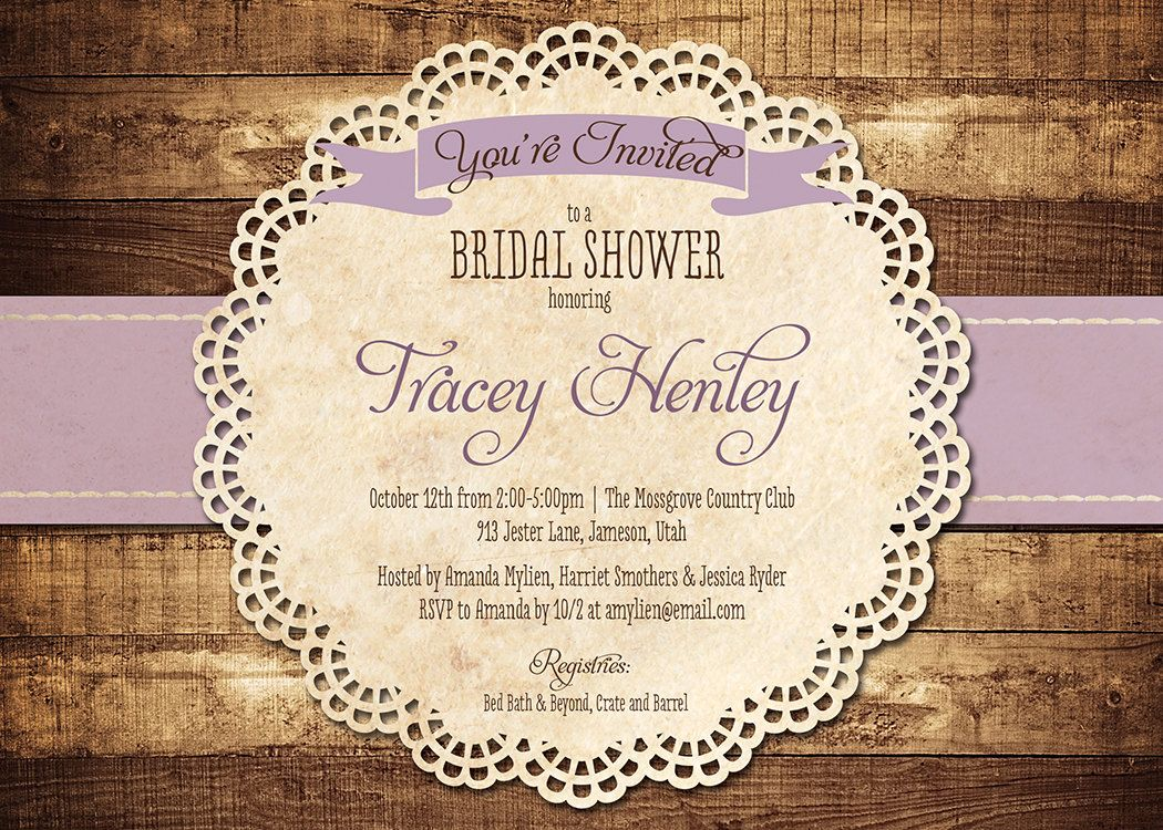 Rustic Bridal Shower Invitation Purple Wood Lace