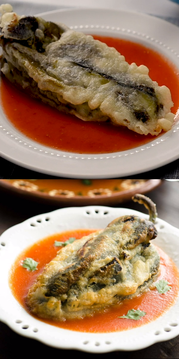 Chiles Rellenos Authentic Vegan Chiles Rellenos, filled with vegan cheese, then battered and fried. Super easy recipe to make!!Authentic Vegan Chiles Rellenos, filled with vegan cheese, then battered and fried. Super easy recipe to make!!