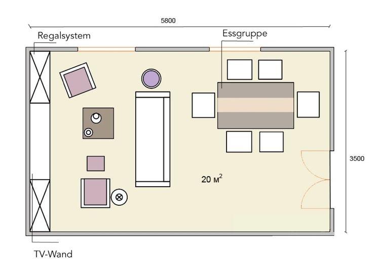 GroBartig 20 Qm Wohnzimmer Einrichten Rechteckig Mit Essplatz