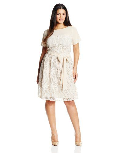 Julian Taylor Womens Plus Size Cap Sleeve Fit And Flare Lace Dress