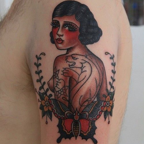 tattoo old school / traditional nautic ink - doll face / butterfly pinup (by Jaclyn Booton)