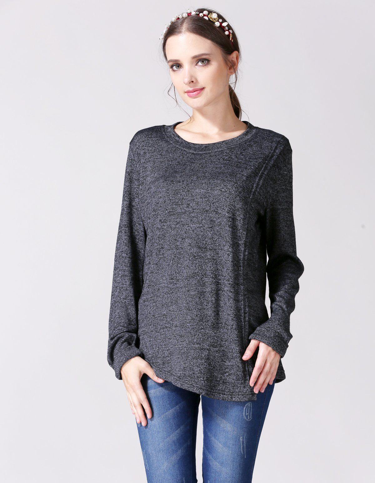 cfee45a7c1192 nursing tops - Emotion Moms Long Sleeve Maternity Clothes Nursing TShirts Breastfeeding  Tops for Pregnant Women Large Dark Grey * Extra information can be ...