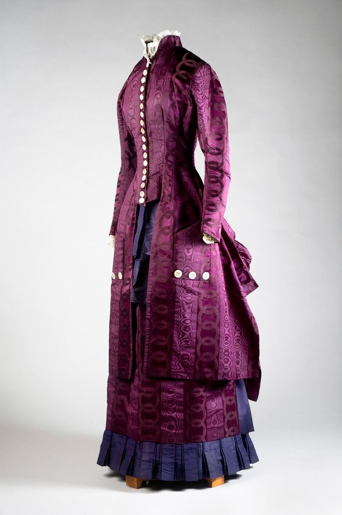 Purple velvet-figured and watered silk two-piece wedding dress, 1884 ...