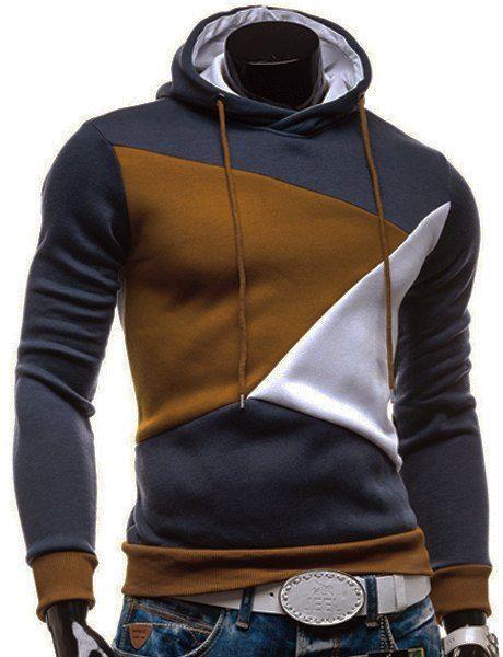 Irregular Color Lump Spliced Rib Hem Slimming Hooded Long Sleeves Casual  Hoodie For Men Más 13799988f72