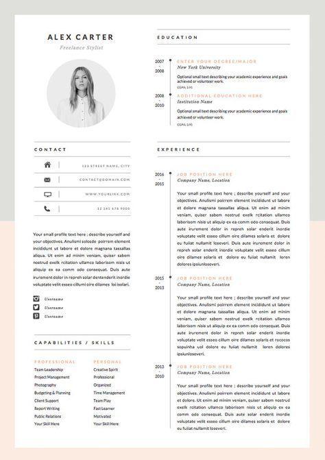 Modern Resume Template Cover Letter Icon Set For Microsoft Word 4 Page Pack Professional Cv Instant Download The Scandi Med Billeder Kreativt Cv Cv Skabelon Grafisk Design