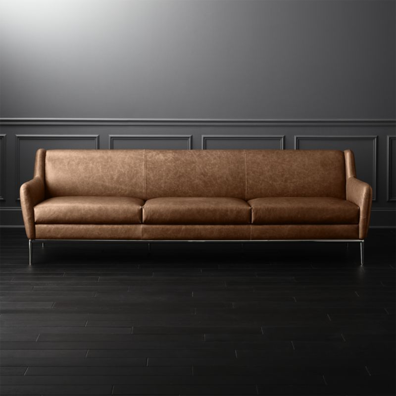 Alfred Extra Large Cognac Leather Sofa Luxe Meets Livability In This Lo Profile High Style By James Harrison