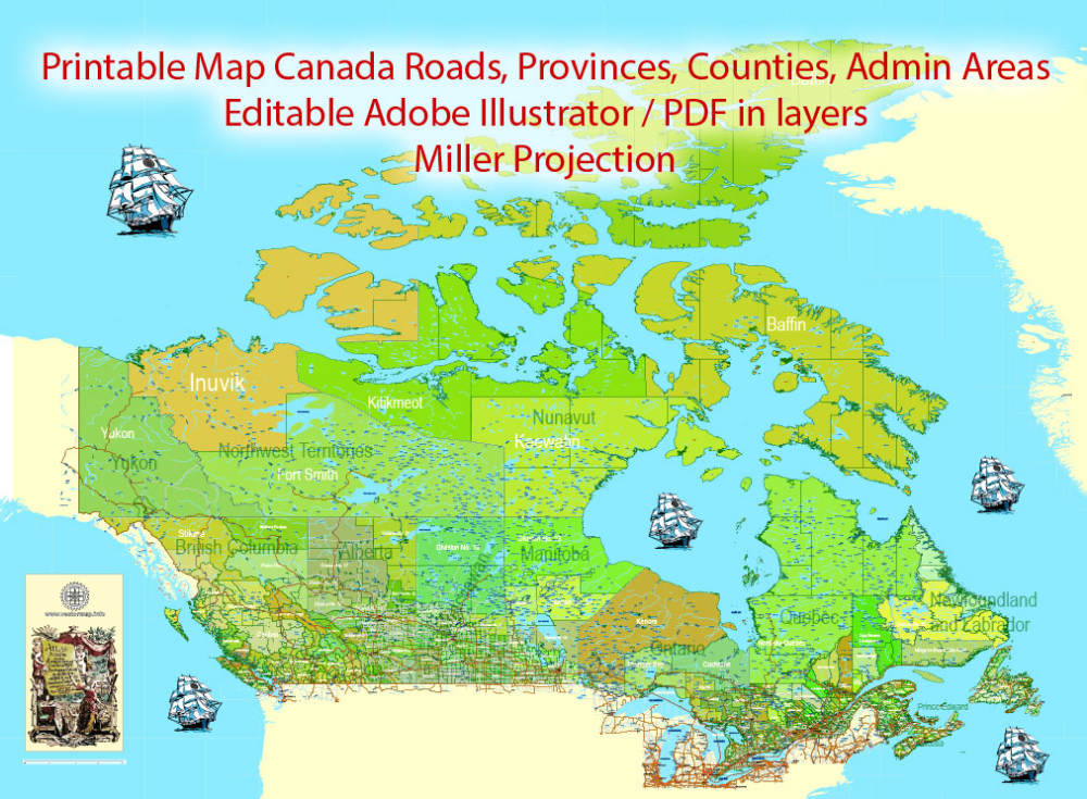 Detailed Map Of Canada.Canada Map Extra Detailed Pdf 01 Admin Road Miller