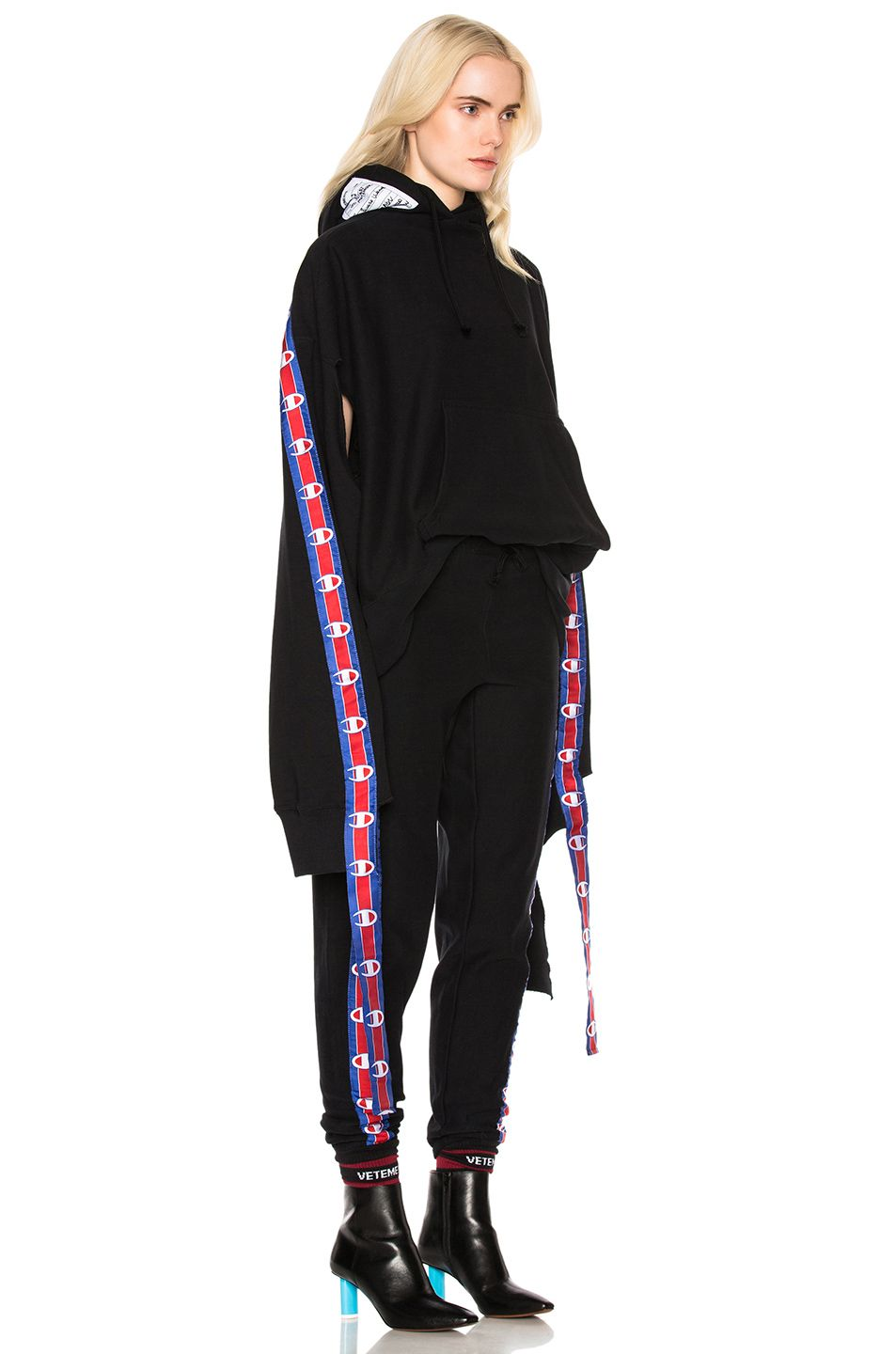 addbc3b64044 Image 3 of VETEMENTS x Champion In Progress Hoodie with Tape in Black