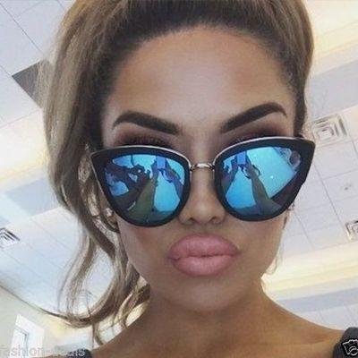 51ab483a289 Cateye reflect sunglasses mirror Sunglasses Women Designer Celine Dior Oversized  Chic Fashion India love Rihanna Inspired