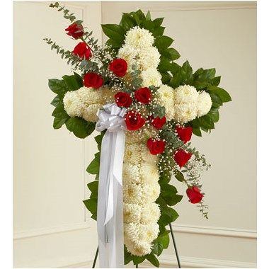 RED AND WHITE STANDING CROSS WITH RED ROSE BREAK | The Blue Orchid Flowers in Richmond Michigan