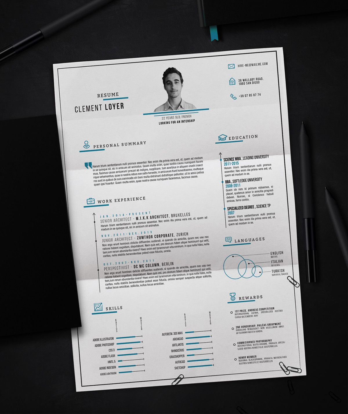 Free, Eye-Catching Resume Templates From Clément Loyer   Behance.net
