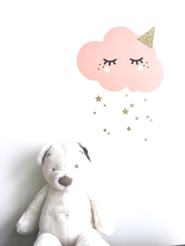 Décor stickers nuage rose poudré et cils | color | Chambre ...