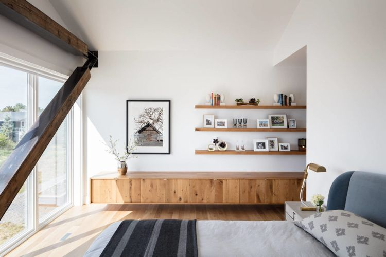 Holzträger Schlafzimmer Sideboard Holz Holzboden Bett #wandverkleidung  #wall #modern #house