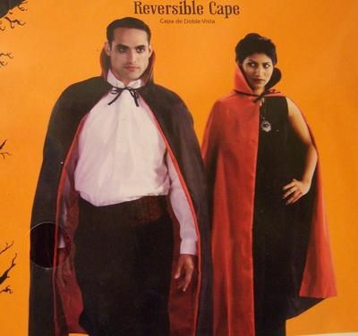 """ONE SIZE Mardi Gras or Halloween REVERSIBLE Costume Dracula Twilight CAPE Adult NIP Red/Black Vampire Dressup    New IN PACKAGE    This stylish polyester cape can be worn as red or black and has a high collar.     It is brand new -- still in the package. It ties at the neck. 48"""" X 22""""  $12.50"""