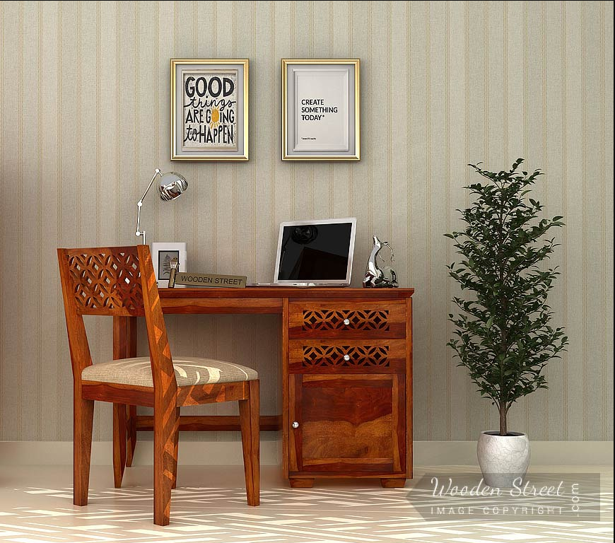 Cambrey Study Table Is Having Enticing Patterns On It A Fascinating Piece To Study And Decorate The Study Sp Wooden Study Table Study Table Designs Study Table