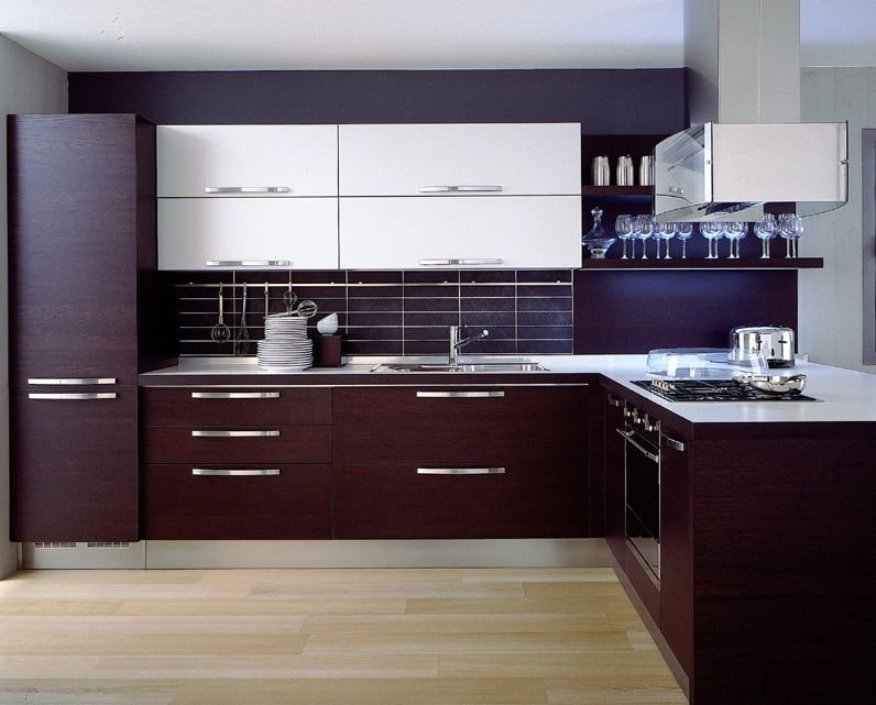 Dark Brown Laminate Kitchen Cabinets With Light Hardwood Floors ...