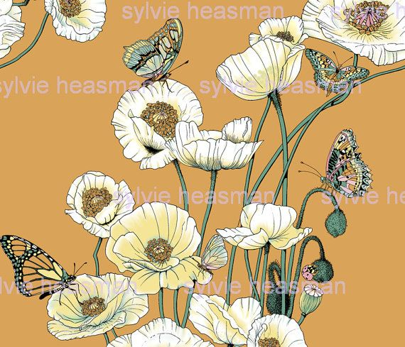 Mohnblumen Ein Butterflies On Gold 21 Zoll Repeat Stoff Poppies Floral Drawing Drawings