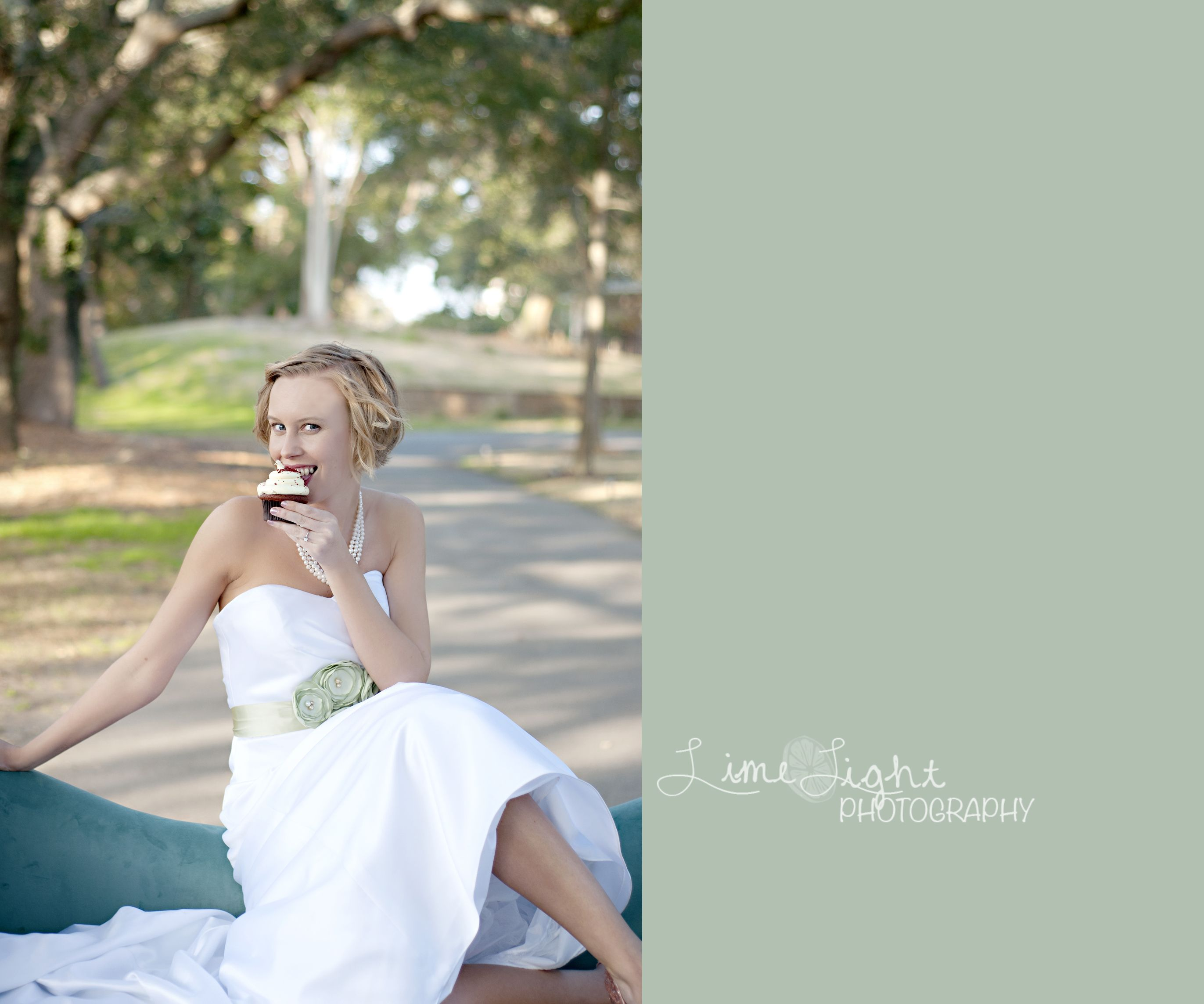 Cupcake bride outdoor bridal portrait wedding dress lime light