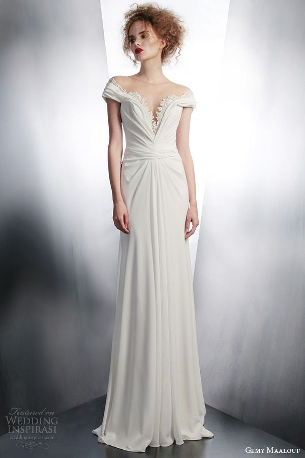 gemy-maalouf-2015-bridal-short-sleeve-illusion-neckline-wedding-dress-style-4146