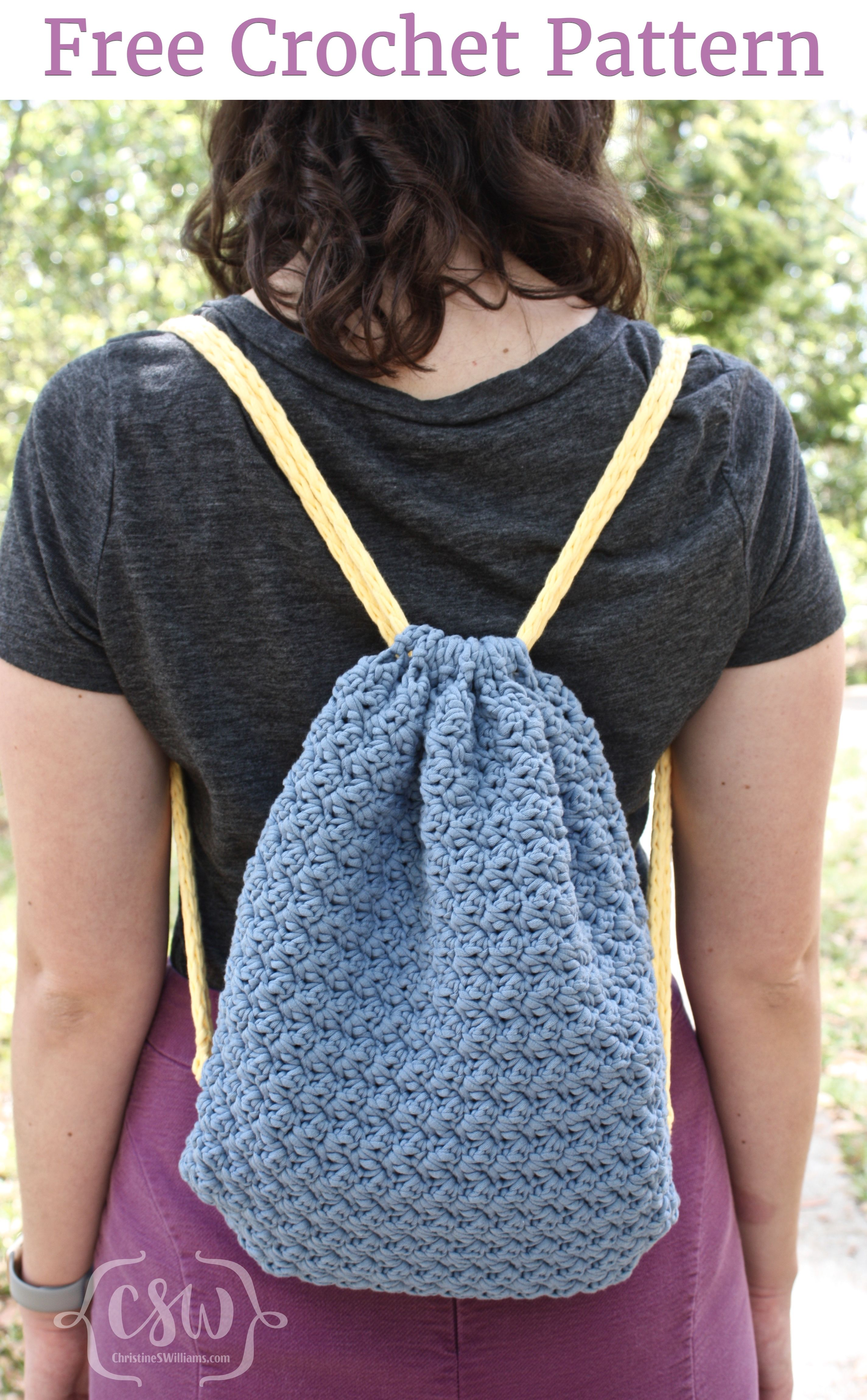 Summer Drawstring Backpack Colorful Christine Crochet Drawstring Bag Drawstring Backpack Pattern Crochet Backpack