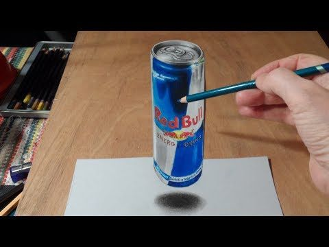 Anamorphic Illusion, Drawing 3D Levitating Red Bull Can - Guardalo